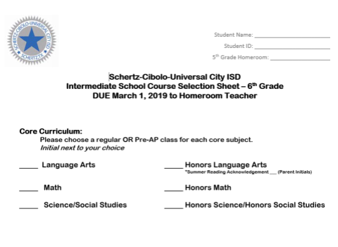 6th Grade Course Selection Form