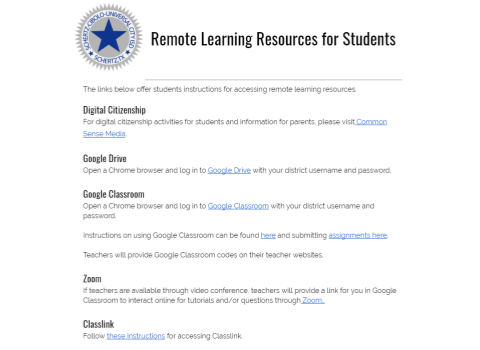 Remote Learning Resources & FAQ's