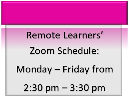 Remote Learners' Zoom Schedule