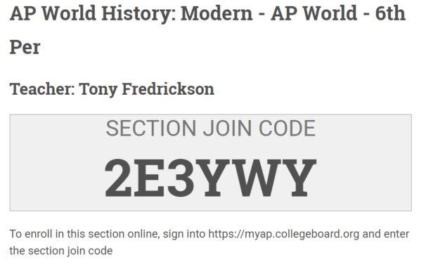Fredrickson, Tony | World History / AP Classroom