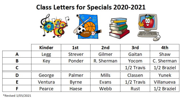 Specials Letters for Classes