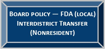 Board Policy FDA  (LOCAL) - Interdistrict Transfers