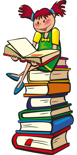 Girl sitting on stack of books.
