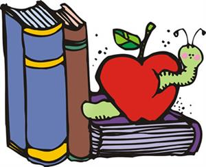 Three books with an apple and worm eating through the apple